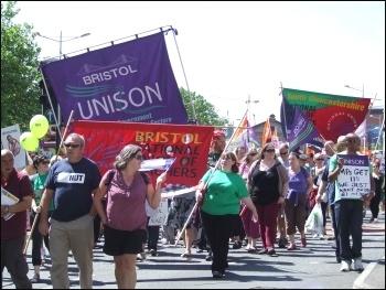 Marching in Bristol, J10, 2014, photo by Matt Carey