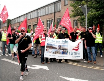 Tyneside Safety Glass workers celebrate pay dispute victory, July 2014, photo by Elaine Brunskill