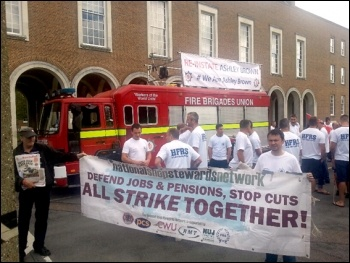 FBU members protest in Hertford against the sacking of firefighter Ashley Brown, 15.7.2014, photo by Neil Cafferky