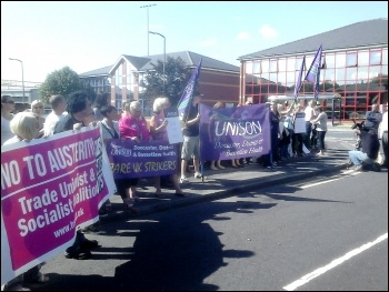 Doncaster Care UK workers on strike, 29.7.14, photo by A Tice