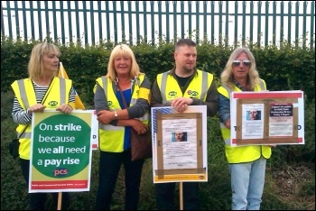 HMRC picket line  at Benton Park View, Newcastle upon Tyne, 1.8.14, photo Elaine Brunskill