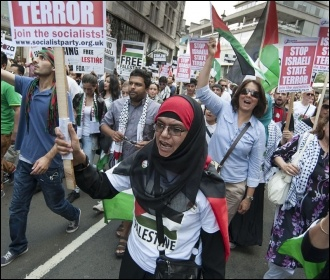 Demonstrating in London against the slaughter in Gaza, 28 July 2014, photo Paul Mattsson