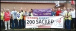 Doncaster Care Uk workers and sacked Tesco Stobart drivers join together in protest on Friday 1 August 2014, photo A Tice