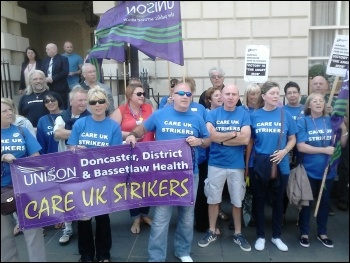 Striking Care UK workers outside the council's Mansion House in Doncaster, 09.08.14, photo Alistair Tice