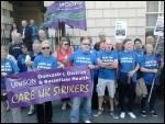 Striking Care UK workers outside the company's Mansion House in Doncaster, 09.08.14, photo Alistair Tice
