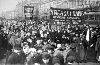 In Feruary (March in the new calendar) 1917 in Petrograd, Russia, a protest on International Women's Day against the unbearable social conditions caused by World War One, triggered the start of the Russian Revolution