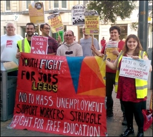 Fast Food Rights campaigners in Leeds on 28 August 2014, photo Erika Sykes