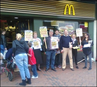 Fast Food Rights campaigners outside McDonald's in Derby, 28 August 2014