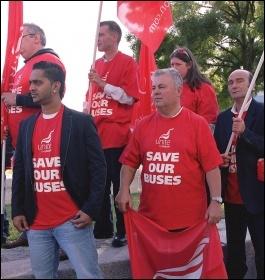 Unite rally against cuts to London buses, photo Paul Mattsson