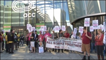 The NSSN lobbying the TUC, Liverpool 7.9.14, photo P Mason