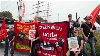 Unite members protest at Greenwich council's