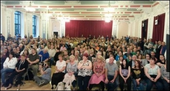 Hundreds packed into the Hope Over Fear public meeting in Dundee, photo by SP Scotland