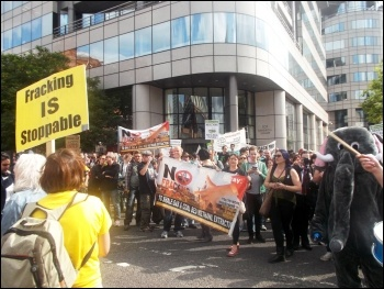 Anti-fracking demo, Manchester, 21.9.14, photo Dylan Murphy