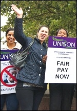 Hackney council workers striking for better pay on 10 July 2014, photo Paul Mattsson