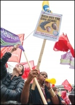At the London Traflagar Square strike rally on 10 July 2014, photo Paul Mattsson