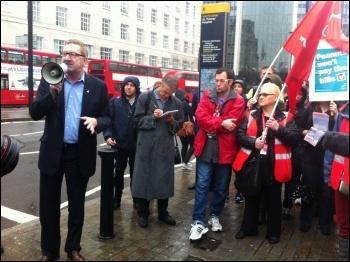 Unite leader Len McCluskey (left) faces growing pressure against the Labour link, photo Paula Mitchell
