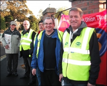 PCS picket in Newcastle, 15.10.14, photo Elaine Brunskill
