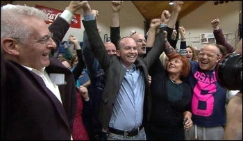 Paul Murphy (centre) celebrates his byelection victory