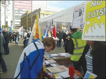 One of the Generation Fightback stalls at the Hope Over Fear rally, photo by GF