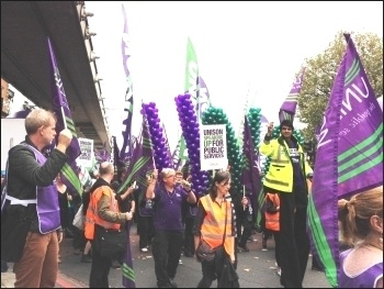 Unison marchers, TUC demo 18.10.14, photo JB
