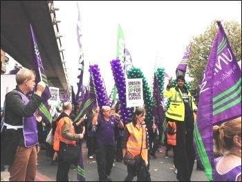 Unison marchers, TUC demo 18.10.14, photo JB