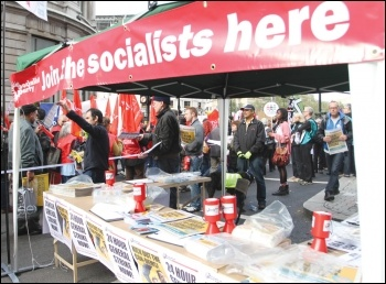 Campaigning for a general strike on the 20 October 2012 TUC demo, photo Senan