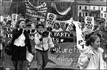 Militant supporters march agianst the poll tax, photo Steve Gardner