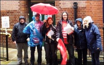 Wet picket line at Half Moon Ct, St Mungo's Broadway strike, 21.10.14