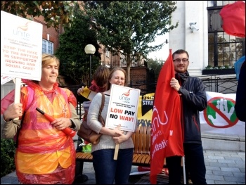 St Mungo's Broadway strikers at Islington TH protest, 21.10.14, photo Judy Beishon