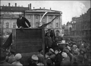 Lenin flankned by Trotsky addressing a demonstration in Moscow, May 1920. Under Stalin's counter-revolution, Trotsky was airbrushed out of the picture