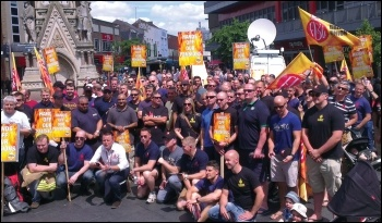 Firefighters protesting in Leicester