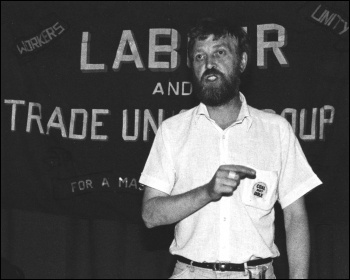 Bill Webster speaking in 1984, photo Dave Sinclair