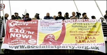 The Socialism 2014 banner on display at the October 2014 TUC demo, photo by Paul Mattsson