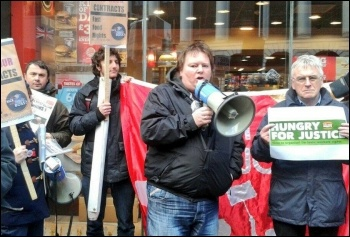 BFAWU president Ian Hodson (with megaphone) on a Fast Food Rights protest