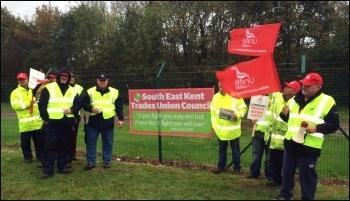 Range wardens on strike, Kent, November 2014