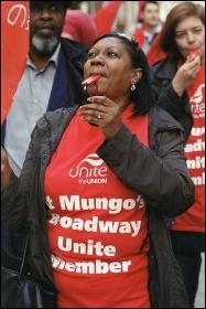 October 2014 St Mungo's Broadway strike, in Hackney, photo by Paul Mattsson