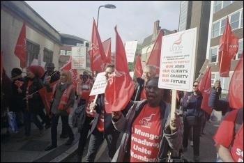 October 2014 St Mungo's Broadway strike, in Hackney, photo Paul Mattsson