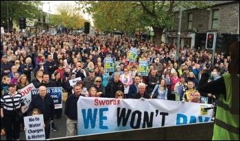 Water tax protesters in Swords, Dublin, 1 November 2014