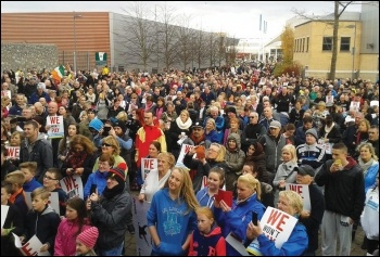 Water tax demonstrators in Blanchardstown, Dublin, 1 November 2014