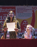 Kshama Sawant speaking, Socialism 2014, London 8.11.14, photo Paul Mattsson