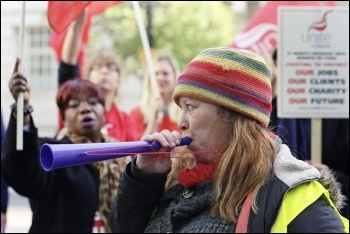St Mungo's  Broadway strike, October 2014, photo Paul Mattsson