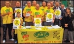 Campaigning agianst cuts and profiteering on the Northern and Transpennine rail lines, photo RMT