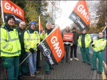 On strike outside Leicester General Hospital, 24.11.14, photo by Michael Barker