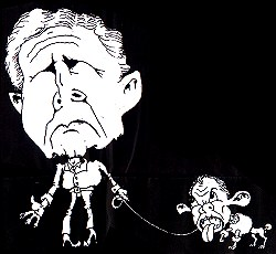 Bush and Poodle Blair, cartoon by Alan Hardman