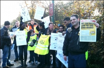 Whipps Cross hospital picket line, 24.11.14, photo by Ian Pattison