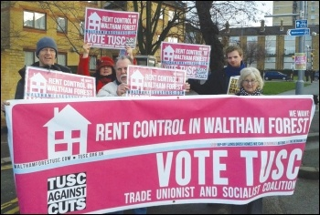 The Trade Unionist and Socialist Coalition stands for rent control and building council housing, photo Waltham Forest TUSC