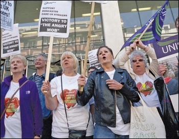 Protesting outside the London offices of Care UK owners Bridgepoint, photo Paul Mattsson