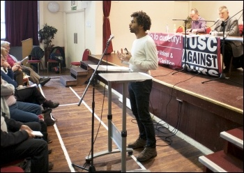 Hugo Pierre, TUSC 2014 Mayoral candidate in Tower Hamlets, speaking at the 2014 TUSC conference, photo by Paul Mattsson