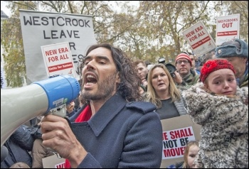 Russell Brand leads protesters on the New Era estate demo outside Westbrook offices in Mayfair, photo Paul Mattsson