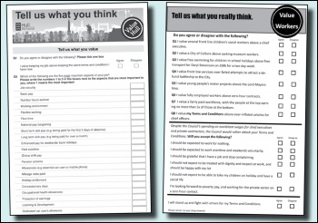 Hull city council's survey (left) and the unions' response